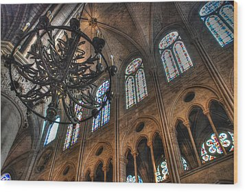 Wood Print featuring the photograph Notre Dame Interior by Jennifer Ancker