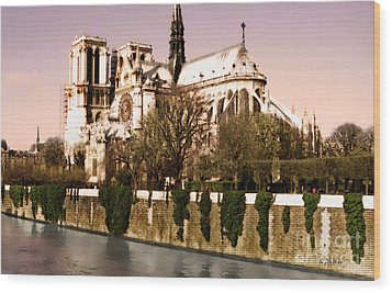 Notre Dame On The Seine Wood Print by Linda  Parker
