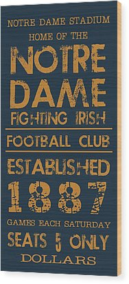 Notre Dame Stadium Sign Wood Print