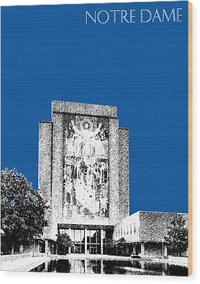 Notre Dame University Skyline Hesburgh Library - Royal Blue Wood Print by DB Artist