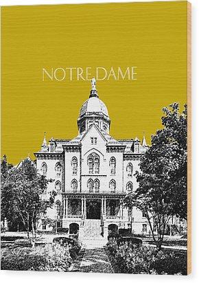 Notre Dame University Skyline Main Building - Gold Wood Print by DB Artist
