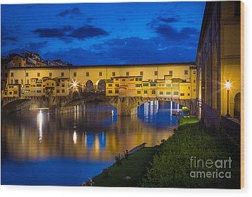 Notte A Ponte Vecchio Wood Print by Inge Johnsson
