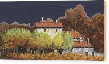 Notte In Campagna Wood Print by Guido Borelli