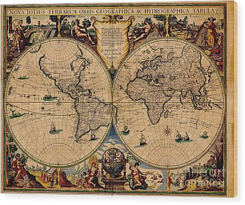 Nova Totius Terrarum Orbis Geographica Ac Hydrographica Tabula Old World Map Wood Print by Inspired Nature Photography Fine Art Photography