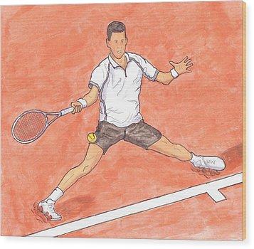 Novak Djokovic Sliding On Clay Wood Print by Steven White