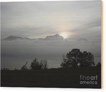 Wood Print featuring the photograph November Fog Over Moonlake by Menega Sabidussi
