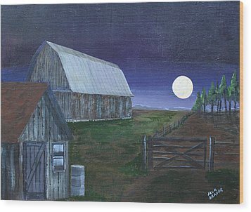 November Hunters Moon Wood Print by Jack G  Brauer