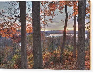 November Morning At The Lake Wood Print by Jaki Miller