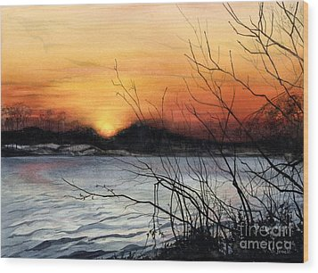 November Sunset Wood Print by Barbara Jewell