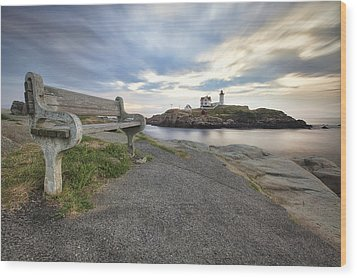 Nubble Bench Wood Print by Eric Gendron