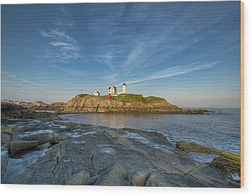 Nubble In Blue Wood Print by At Lands End Photography