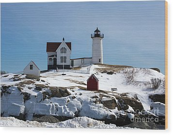 Nubble Light 2 Wood Print by Kevin Fortier