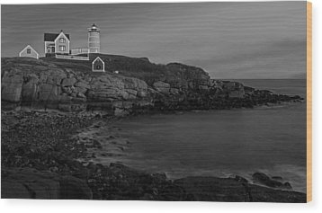Nubble Light At Sunset Bw Wood Print by Susan Candelario