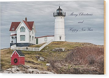 Wood Print featuring the photograph Nubble Light Christmas Card by Richard Bean