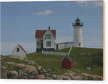 Nubble Light House York Maine Wood Print by Denyse Duhaime