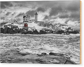 Nubble Lighthouse After The Storm Wood Print by John Vose