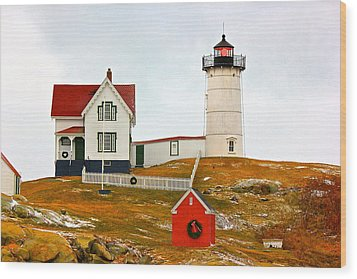 Wood Print featuring the photograph Nubble Lighthouse by Amazing Jules