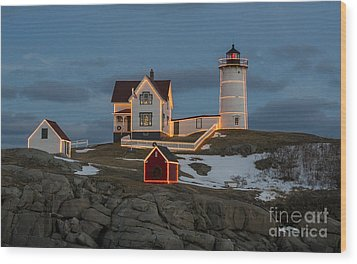 Nubble Lighthouse At Christmas Wood Print