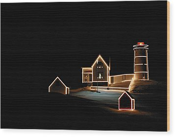 Nubble Lighthouse Christmas Lights Wood Print by Denyse Duhaime