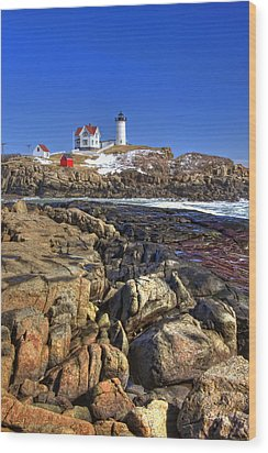 Nubble Lighthouse Wood Print by Joann Vitali