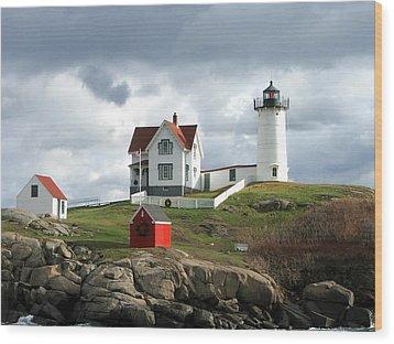 Nubble Lighthouse Wood Print by Nancy Landry