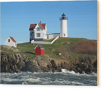 Nubble Lighthouse One Wood Print by Barbara McDevitt