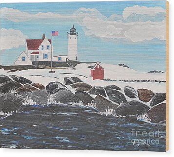 Nubble Lighthouse Wood Print by Sally Rice