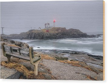 Nubble Lighthouse View Wood Print