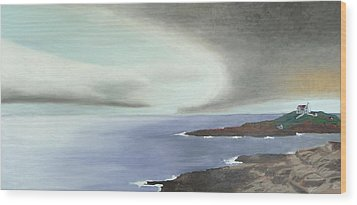 Nubble Storm Wood Print by Dillard Adams