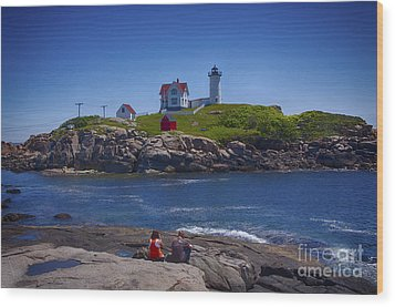 Nubble Summer Wood Print by Rick Bragan