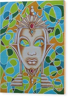 Nubian Modern Ivory Mask  Wood Print