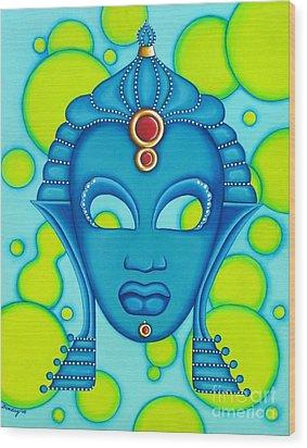 Nubian Modern Mask Blue Wood Print by Joseph Sonday