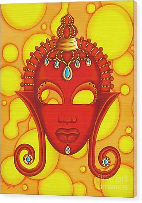 Nubian Modern Mask Red Wood Print