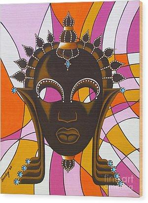 Nubian Modern Mask With Pink Wood Print by Joseph Sonday