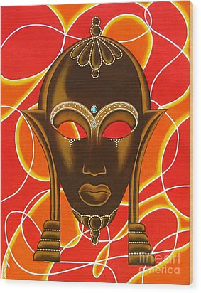 Nubian Modern Mask With Red And Orange Wood Print by Joseph Sonday