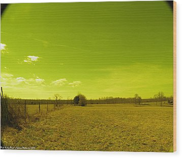 Wood Print featuring the photograph Nuclear Fencerow by Nick Kirby