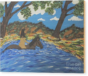 Wood Print featuring the painting Nude And Bareback Swim by Jeffrey Koss