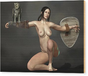 Wood Print featuring the digital art Nude Athena by Kaylee Mason