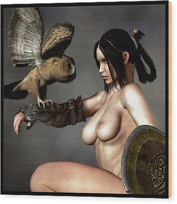 Wood Print featuring the digital art Nude Athena With Owl And Shield by Kaylee Mason