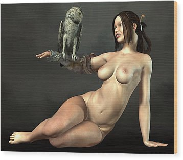Wood Print featuring the digital art Nude Athena With Owl by Kaylee Mason