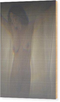 Nude Behind Curtain Wood Print