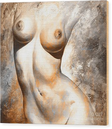Nude Details - Digital Color Version Rust Wood Print by Emerico Imre Toth