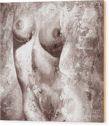 Nude Details - Digital Gray Color Version Wood Print by Emerico Imre Toth