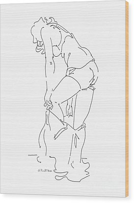 Wood Print featuring the drawing Nude Female Drawings 1 by Gordon Punt