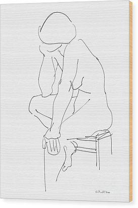 Nude Female Drawings 12 Wood Print by Gordon Punt