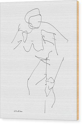 Nude Female Drawings 14 Wood Print by Gordon Punt