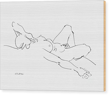 Wood Print featuring the drawing Nude Female Drawings 2 by Gordon Punt