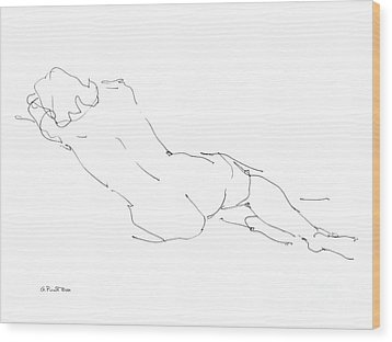 Nude Female Drawings 9 Wood Print by Gordon Punt