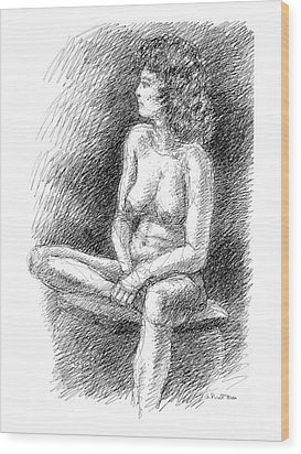 Wood Print featuring the drawing Nude Female Sketches 2 by Gordon Punt