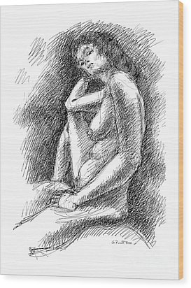 Wood Print featuring the drawing Nude Female Sketches 3 by Gordon Punt